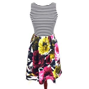 Just Taylor Dress Size 2 Striped Floral